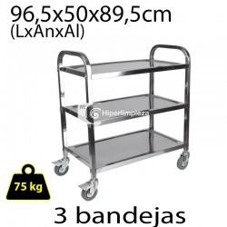 Carro de camarera HL ac. inox 96,5x50x89,5 cm